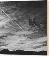 Aircraft Contrail With Shadow On Lower Cloud Nevada Usa Wood Print
