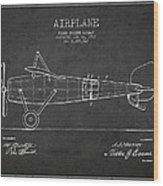 Airplane Patent Drawing From 1918 Wood Print