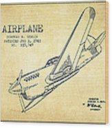 Airplane Patent Drawing From 1943-vintage Wood Print