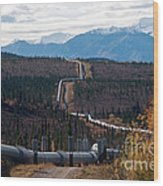 Alaska Oil Pipeline Wood Print