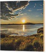 Alaskan Midnight Sun Over The Lake Wood Print