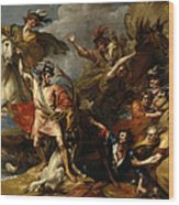 Alexander IIi Of Scotland Rescued From The Fury Of A Stag By The Intrepidity Of Colin Fitzgerald  Wood Print