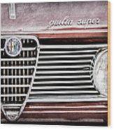 Alfa-romeo Guilia Super Grille Emblem Wood Print