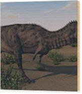 Alluring Majungasaurus In Swamp Wood Print