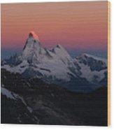 Alpenglow On The Matterhorn And Dent Wood Print