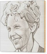 Amelia Earhart Drawing Wood Print