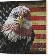 American Bald Eagle On Grunge Flag Wood Print