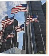 American Flags In Front Of The Detroit Renaissance Center Wood Print