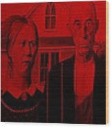 American Gothic In Red Wood Print