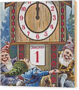 American New Years Card Wood Print