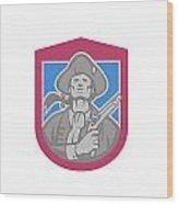 American Patriot With Flintlock Shield Retro Wood Print