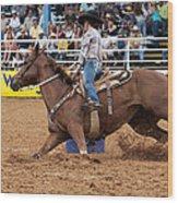 American Rodeo Female Barrel Racer White Blaze Chestnut Horse II Wood Print by Sally Rockefeller