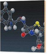 Amoxicillin Molecular Model Wood Print