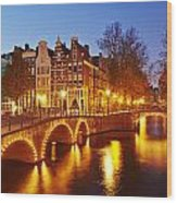 Amsterdam - Old Houses At The Keizersgracht In The Evening Wood Print
