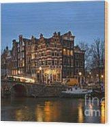 Amsterdam Corner Cafe Wood Print