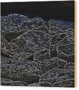 An Abstract View Of An Irish Dry Stone Wall Wood Print