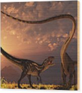 An Allosaurus In A Deadly Battle Wood Print