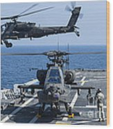 An Army Ah-64d Apache Helicopter Takes Wood Print
