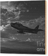 An F-86f Sabre In Flight Near Glendale Wood Print