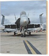 An Fa-18d Hornet On The Ramp At Marine Wood Print