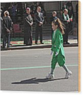 An Irish Lassie Marching In The 2009 St. Patrick Day Parade Wood Print