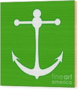 Anchor In Green And White Wood Print