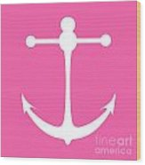 Anchor In Pink And White Wood Print