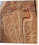 Ancient Engraving Of A Buffalo At The Wadi Matkhandouch In Libya Wood Print