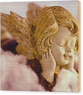 Angel Resting On Clouds And Enjoying The Sun Wood Print