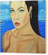 Angelina Jolie Wood Print