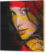 Angleina Jolie Wood Print