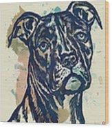 Animal Pop Art Etching Poster - Dog - 4 Wood Print