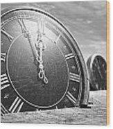 Antique Clocks In The Desert Sand Wood Print