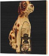Antique Dog W Lantern Wood Print