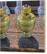 Antique Kerosene Lamps Wood Print