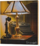 Antique Lamp Typewriter And Phone Wood Print