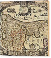 Antique Map Of Holland 1630 Wood Print