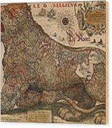 Antique Map Of Leo Belgicus 1630 Wood Print