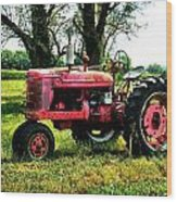 Antique Tractor  Wood Print by Julie Dant