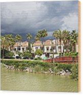 Apartment Houses In Marbella Wood Print
