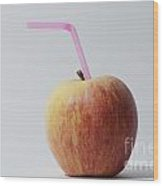 Apple With Straw Wood Print