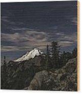 Mt. Baker At Night 1 Wood Print