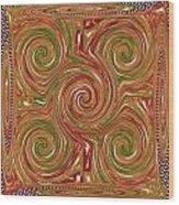 Artistic Embossed Twirl Decoration Chakra Style Unique Signature Navinjoshi Artist Created Images Te Wood Print
