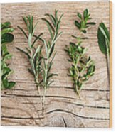 Assorted Fresh Herbs Wood Print