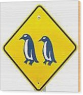 Attention Blue Penguin Crossing Road Sign Wood Print