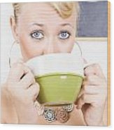 Attractive Blonde Woman Drinking Green Tea Wood Print