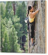 Attractive Woman Rock Climbing High Wood Print