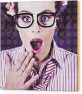Attractive Young Nerd Girl With Surprised Look Wood Print