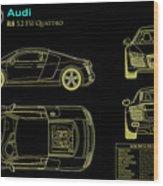 Audi R8 Blueprint Wood Print