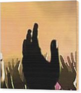 Audience Hands And Lights At Concert Wood Print